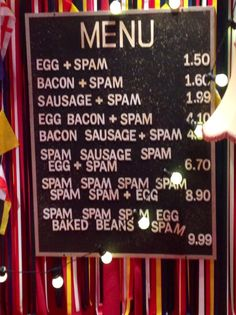 #MontyPythonLive Not the usual menu here.. @TheO2 I DON'T LIKE SPAM!!!!!!
