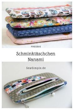 Make-up bags Nanami sew - FREEBIE: Sewing pattern of zippered bags - Easy Sewing Projects, Sewing Projects For Beginners, Sewing Hacks, Sewing Tutorials, Bag Patterns To Sew, Sewing Patterns Free, Buy Fabric, Fabric Scraps, Leftover Fabric