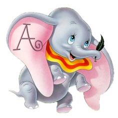 Alfabeto de Dumbo aprendiendo a volar.