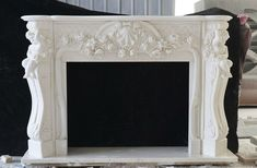 BEAUTIFUL CARVED MARBLE CHERUB AND FLORAL FIREPLACE MANTEL - FPM614 #fromeuropetoyou