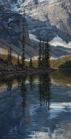 Darcie Peet - Like a Blue Gemstone-Moraine Lake 30 x 15 Oil - Canadian Rockies