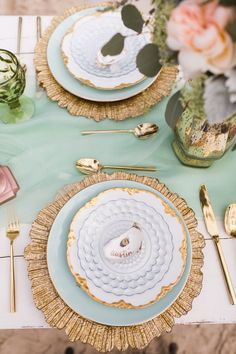Mint & Gold Place Setting