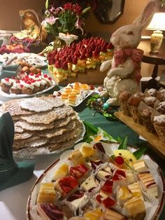 DIY sweet table for easter and spring parties. Homemade dishes displayed in a variety of fun ways! Dish Display, Birches, Spring Party, Assisted Living, Parties, Easter, Homemade, Cooking, Ethnic Recipes