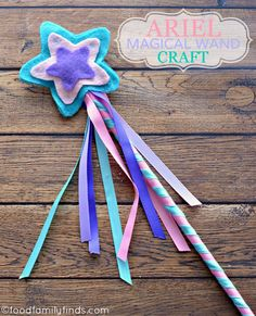 The Little Mermaid Ariel Magical Wand Craft Tutorial for a Birthday Party Little Mermaid Birthday, Little Mermaid Parties, Ariel The Little Mermaid, Fairy Crafts, Felt Crafts, Diy And Crafts, Magic Wand Craft, Diy For Kids, Crafts For Kids
