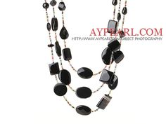Beautiful Cool Three Layer Irregular Shape Black Agate and Multi Color Crystal Beads Necklace (Random Shape for Agate)