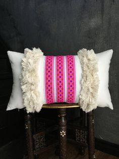 Bright Hot Pink Ethnic Hmong Pillow Moroccan Pillow   Boho Pillow   Tribal   Handira   Berber   Fringe Pillow   Tassel Pillow