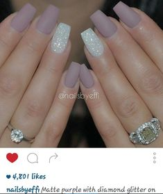 cool Matte purple with diamond glitter on ring finger nails...
