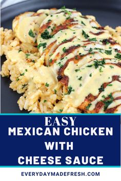 Mexican spiced chicken topped with a creamy cheese sauce makes this, Mexican Chicken with Cheese Sauce delicious any night of the week. Pair it with the Perfect Mexican Rice for a complete meal that your family will be begging for more. I Love Food, Good Food, Yummy Food, Chicken Spices, Le Diner, Creamy Cheese, Mexican Food Recipes, Chicken Cheese And Rice Mexican Recipe, Recipe With Cheese