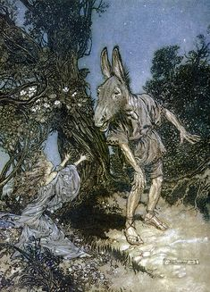 A Midsummer night's Dream act iii scene i Titania sees Bottom arthur rackham midsummer night's dream