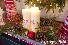 DIY Lighted Pinecone & Candle Tray--lay strings of white mini xmas lights in tray and arrange candles, etc. over and around the string of lights.