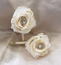 Custom Blush Pink and ivory Mix Rose Gold and Gold Bridal Brooch Jeweled Bouquet - $520 Total Price for Both - DEPOSIT to place your Order = $320.00 - BALANCE