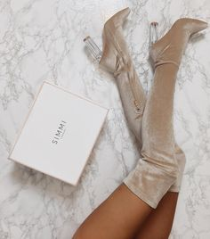 Sestito Ladies Chunky Transparent Heels Dress Shoes Woman Suede Side Zipper Over-the-knee Boots Female Peep Toe Sandals Boots - Gucci Nails - Ideas of Gucci Nails - Thigh High Boots, High Heel Boots, Knee Boots, Heeled Boots, Bootie Boots, High Heels, Stilettos, Boot Heels, Dr Shoes