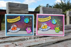 Gerda Steiner Alien Invasion, Zig clean color markers, Galaxy background, Cards