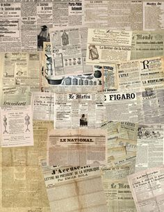 Samantha- newspaper articles about current issues in the would that will be on the floor and around the space These collage sheets of old newspapers, which might be useful for attic wallpaper, lining trunks, suitcases and old cupboards (and probably . Newspaper Wallpaper, Newspaper Background, Newspaper Collage, Vintage Newspaper, Newspaper Design, Newspaper Crafts, Diy Wallpaper, Vintage Ephemera, Collage Sheet