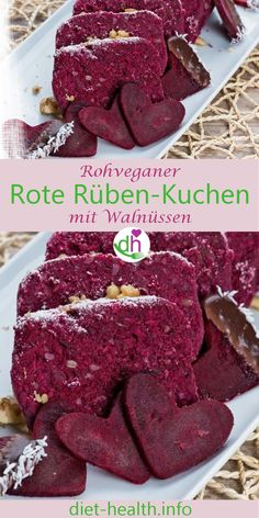 Rote-Rüben-Kuchen mit Walnüssen und Sonnenblumenkernen The slightly different cake: The raw-vegan beet-cake with walnuts and sunflower seeds convinces both in color and taste. The raw food cake succee Healthy Recipes For Diabetics, Healthy Desserts, Raw Food Recipes, Cake Recipes, Beet Cake, Beetroot Chocolate Cake, Different Kinds Of Cakes, Roh Vegan, Cake Works