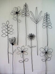 Tenture murale fil Arrangement de la fleur ou Bouquet | Etsy #metalart #metal #art #flowers