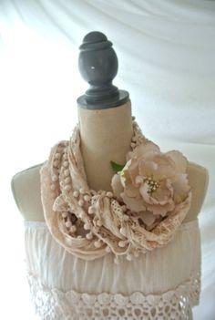 Summer scarf romantic shabby wrap ecru blush by TrueRebelClothing, $32.00