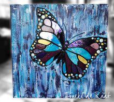 Acryl op linnen, 80 x 80 cm, de vlinder is gemaak van verschillende soorten glas.