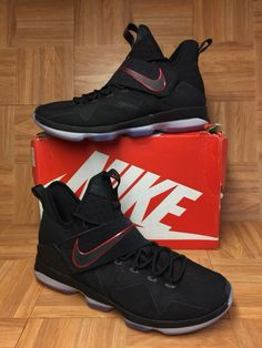 3b14d9b9851 RARE🔥 Nike LeBron 14 XIV Bred Black University Red 852405-004 Sz 15 Men s  Shoes