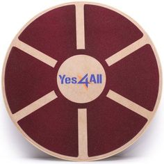 Yes4All Wooden Wobble Balance Board – Exercise Balance Trainer (15.75-inch Diameter), Red