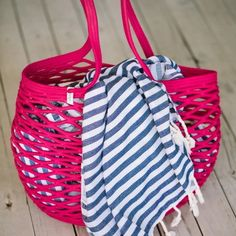 Make a statement at the beach or even at your local market with our unique net bag! Made from 100% cotton rope, our net bags are durable and expand as more goods are placed in the bag.   Mia Mélange bags are made from 100% cotton rope which we carefully sew together in a coiling technique. The cotton is grown locally in South Africa by farmers who are members of the Better Cotton Initiate (BCI). Net Bag, Cotton Rope, Farmers, South Africa, Diaper Bag, Pink, Sewing, Beach, Unique