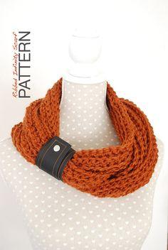 Crochet PATTERN Chunky Ribbed Infinity Scarf by TheNewcrochet, €2.75