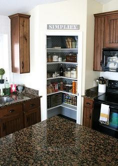 I would love to have a small pantry upstairs in the kitchen like this one.