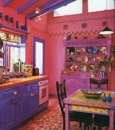 49 Inspiring Colorful Boho Chic Kitchen Designs: 49 Inspiring Colorful Boho Chic Kitchen Designs With Purple And Pink Kitchen Wall And Wooden Kitchen Island And Wooden Dining Table Design Purple Kitchen, Kitchen Colors, Funky Kitchen, Country Kitchen, Eclectic Kitchen, Awesome Kitchen, Kitchen Modern, Beautiful Kitchen, Bohemian Interior