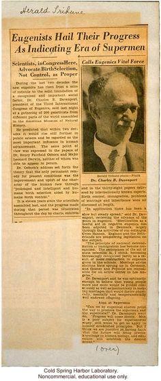 """Eugenicists Hail Their Progress as Indicating Era of Supermen,""  New York Herald Tribune (1932), review of Third International Eugenics Congress"