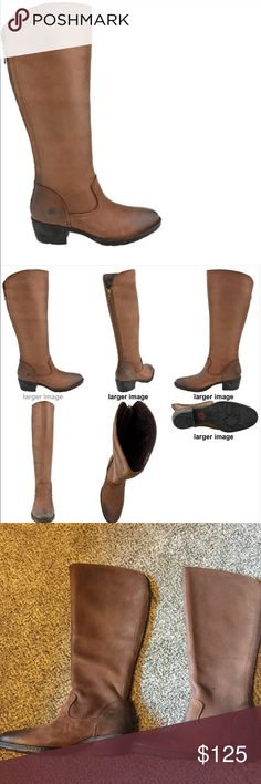 Born Brown Leather Boots These mid calf leather boots are new with no tags. The reviews list them as being very comfortable. I love the look of these! See the specific details listed in the photos. Born Shoes Heeled Boots