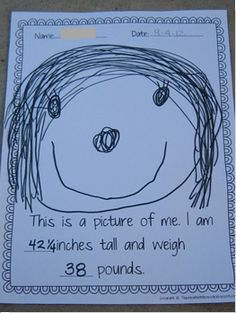 Teaching The Little People: All About Me in Preschool - do a photo on one side and work on drawing a face on the other - add age