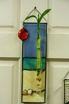 Palm Tree on the Beach Stained Glass Lucky Plant by miloglass, $35.00