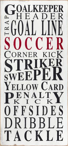 Soccer  Typography Word Art in White by barnowlprimitives on Etsy, $95.00