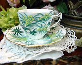 Rosina Tea Cup and Saucer Teacup - 1950s Bone China Ferns and Palms 7972