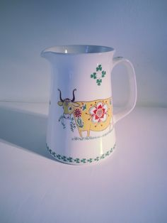 Vintage Figgjo Flint Turi Design Milk Jug - Pitcher with a Yellow Cow Design.. Made in Norway..Turi Design Scandinavian Design Kitchenalia by fcollectables on Etsy