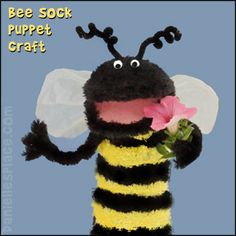 Bee Sock Puppet Craft for Kids from www.daniellesplace.com