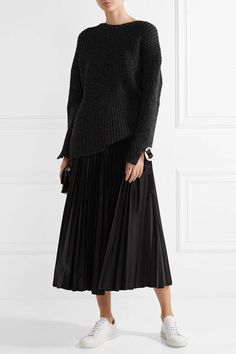 Theory - Dorothea Pleated Shell Midi Skirt - Black - US10