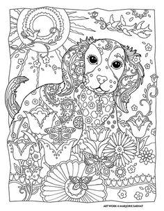 Marjorie Sarnat Design & Illustration Puppy Dog Pet Flowers Abstract Doodle Zentangle Paisley Coloring pages colouring adult detailed advanced printable Kleuren voor volwassenen coloriage pour adulte anti-stress kleurplaat voor volwassenen Line Art Black and White