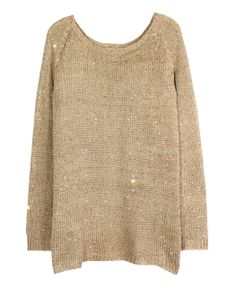 Vent Chiffon Splicing Paillette Knitting Pullover