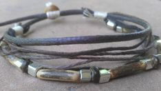 not keen on the strings- but love the beads & single leather strap Miyuki Silver Tone Glass, Seed Hull Beads, Hand Carved Wood Beads, Turned Wood Accent Bead, Hemp, Bamboo, Cotton