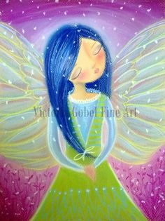 Praying Angel Original Pastel Drawing  by by VictoriaGobelFineArt, $150.00