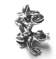2704 playful 3d sterling silver leap frog jewelry charm Real Sterling silver 925 pendant Charm jewelry. $15.46, via Etsy.