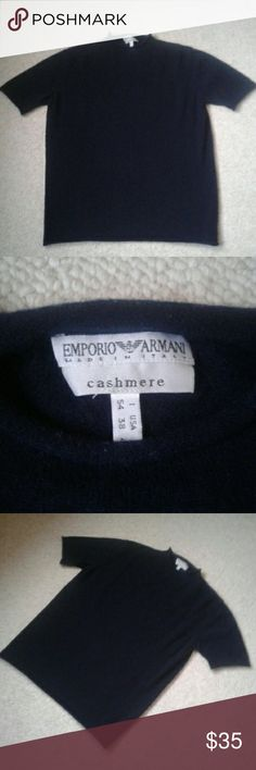 Emporio Armani Men's Cashmere Mock Neck Sweater Navy blue short sleeve mock neck sweater. Rolled hems at neck, sleeves and waist. Super soft, EUC, no flaws. Made in Italy, 100% cashmere. Gentle hand wash or dry clean. Size is US 38 or medium. Emporio Armani Sweaters Turtleneck