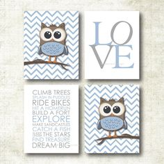 Baby Boy Nursery Art | Chevron Owl Nursery Prints | Baby Nursery Decor | Playroom Rules Quote Art Print Set (BOY23)