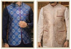 56cd4851a9 Traditional Men Waistcoat in Light and Dark Color on Jamawar Cloth Online at  Nameera by Farooq