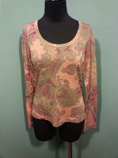 ETRO NWT $348 Piera Paisley Peach Wool Nylon Crewneck Knit Dress Top 44 8 M  #Etro #KnitTop #Career #daystarfashions $199 OBO FREE SHIP