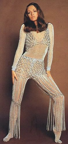 Model wearing a silver body stocking by Mary Quant with a chain mail bolero by Waluco, Selfridges, November 1969.