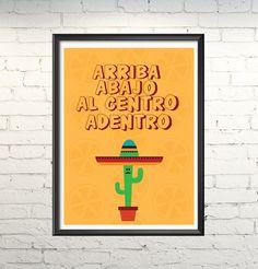 Poster Arriba,abajo,al centro, adentro. México,drinks,bebidas.