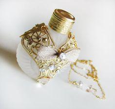 White Perfume Bottle Miniature Upcycled Czech by ElvenDesignArt, $62.00