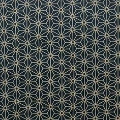 Tissu Japonais Asanoha - Sevenberry - Motif traditionnel Asanoha fond bleu nuit